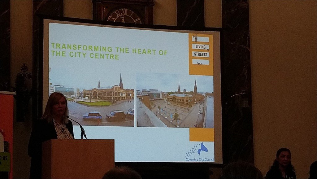 Figure 6 Jo Shore from Coventry providing an example of how the city centre have been redesigned to encourage walking and cycling